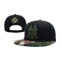 Gorra NY Color Negro,Pico Camuflaje con Logo Frontal y Correa de Plastico