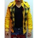 Cazadora con Capucha Amarilla de Cuadros